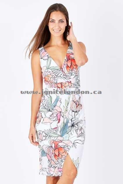 Womens 3rd Love Adara Wrap Dress Print - Floral Wholesale Canada