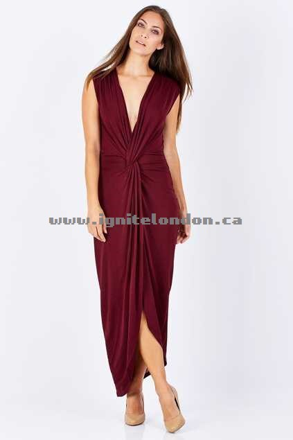 Womens 3rd Love Effie Twist Dress Burgundy - Plain Colour, Stretch Sale Canada