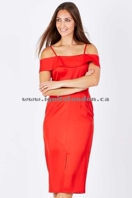 Womens 3rd Love Omana Off The Shoulder Dress Red - Plain Colour Wholesale Canada