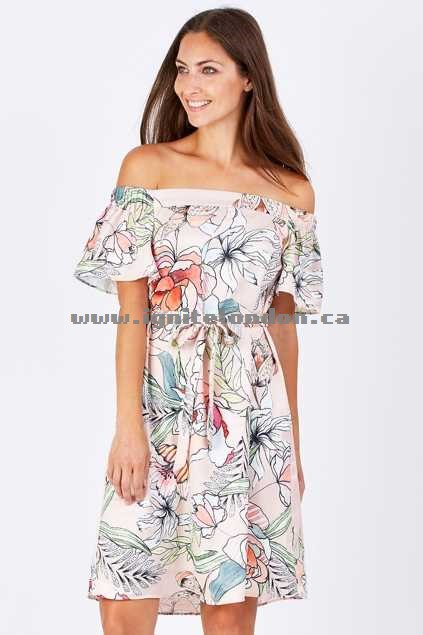 Womens 3rd Love Zari Off The Shoulder Dress Print - Floral Discount