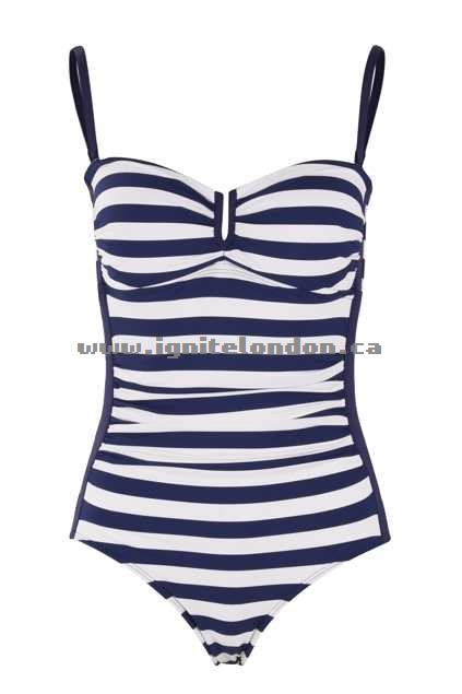 Womens Baku Beachcomber D/dd Cup Maillot Indigo - Stretch, Stripes, Prints Outlet