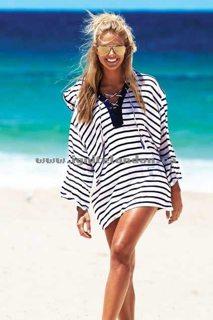 Womens Baku Beachcomber Docklands Coverup Indigo - Sheer, Prints, Stripes Canada Sale