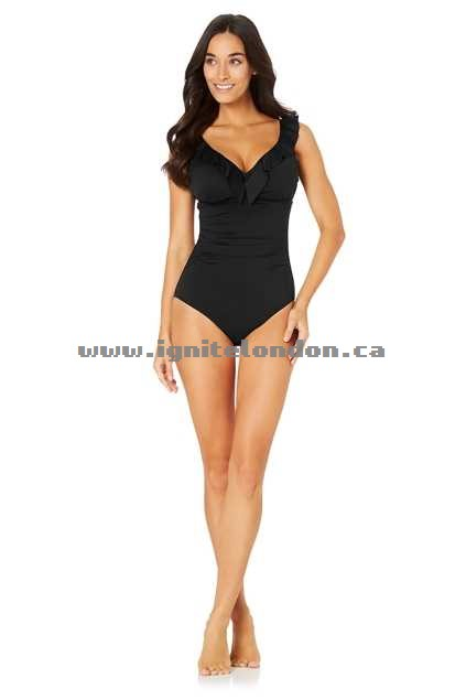 Womens Baku Boardwalk DD/E Frill Maillot Black - Plain Colour, Padded Factory Outlet