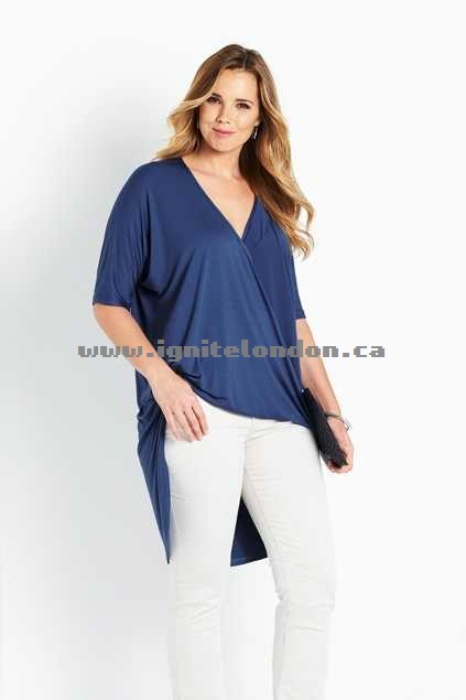 Womens Belle bird Belle Bamboo Wrap High Low Tunic RetroBlue - Plain Colour, Stretch Various Sizes