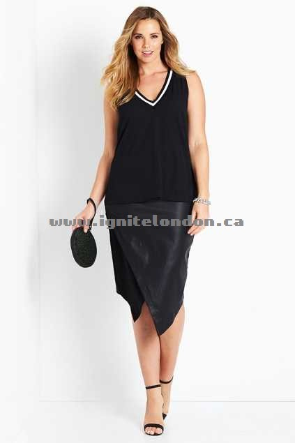 Womens Belle bird Belle Coated Pencil Skirt Black - Plain Colour, Textured, Stretch Outlet Factory