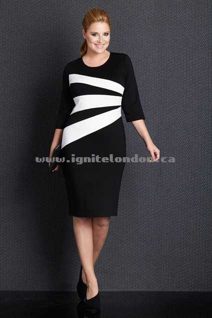 Womens Belle bird Belle Contrast Slash Dress Black/Whit - Stripes, Monochrome, Stretch Shop Canada