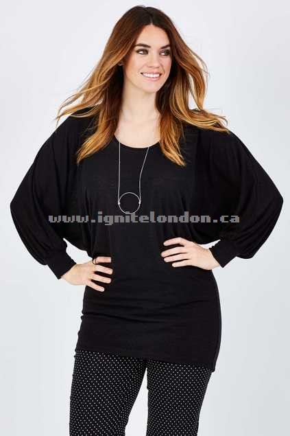 Womens Belle bird Belle Full Flute Sleeve Sweater Black - Plain Colour, Knit, Stretch Get Cheap
