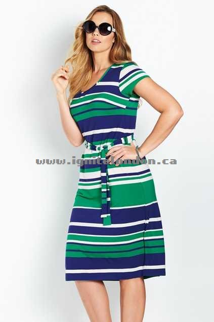 Womens Belle bird Belle Island Stripe Dress Blue - Stripes, Stretch, Prints Sale Canada