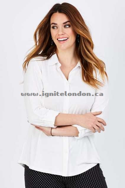 Womens Belle bird Belle Knit Button Thru Shirt WinterWhit - Plain Colour, Stretch Outlet Online