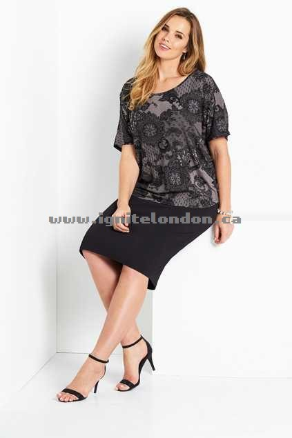 Womens Belle bird Belle Lace Print Tee Black - Prints, Stretch Fashion Style