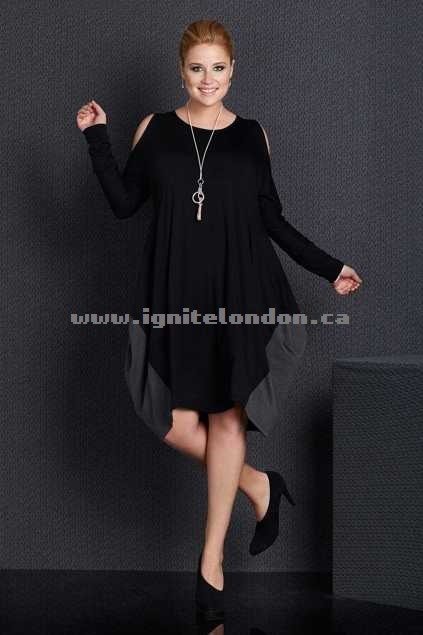 Womens Belle bird Belle Open Sleeve Dress BlackGrey - Plain Colour, Stretch Shop Canada