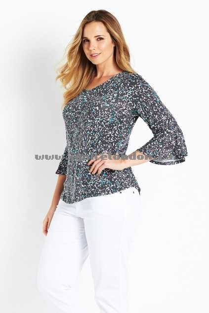 Womens Belle bird Belle Printed Flute Sleeve Top Aqua - Stretch, Prints Clearance