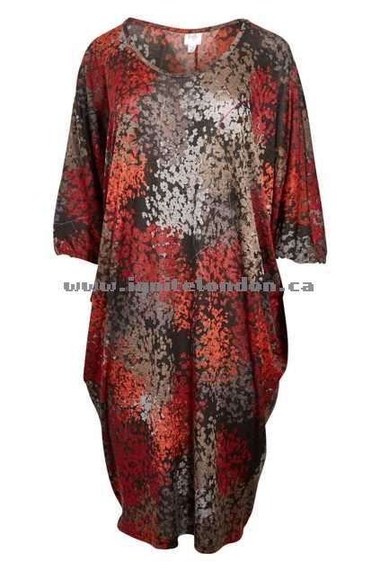 Womens Belle bird Belle Printed Side Drape Dress RedFlowrs - Prints, Stretch Clearance