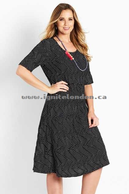 Womens Belle bird Belle Sleeved Jersey Dress Black - Textured, Stretch, Prints, Stripes Outlet