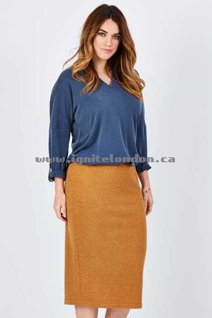 Womens Belle bird Belle Textured Pencil Skirt Mustard - Plain Colour, Textured, Stretch Sale Canada