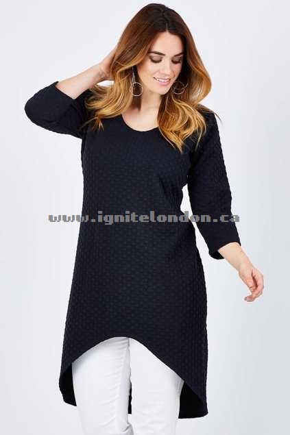 Womens Belle bird Belle Textured Tunic Navy - Plain Colour, Textured Last 2018