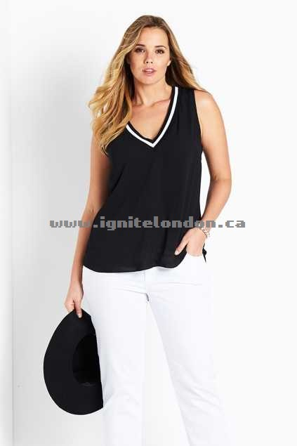 Womens Belle bird Belle Tipped V Neck Cami Black - Canada Online Shop