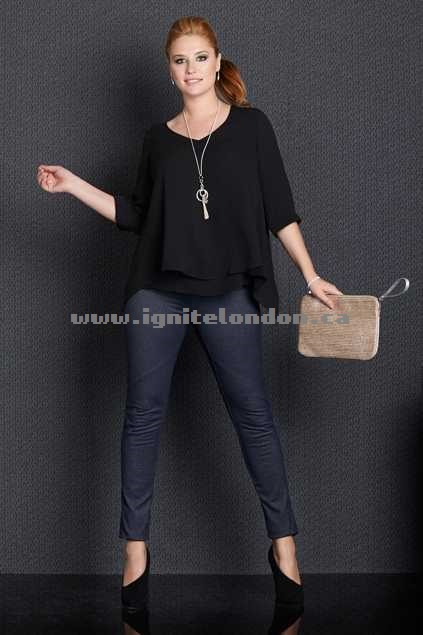 Womens Belle bird Belle V Neck Woven Top Black - Plain Colour Sale Canada