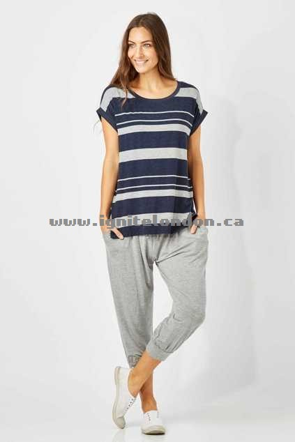 Womens Betty Basics Tokyo 3/4 Pant SilverMarl - Stripes, Prints Online Cheap