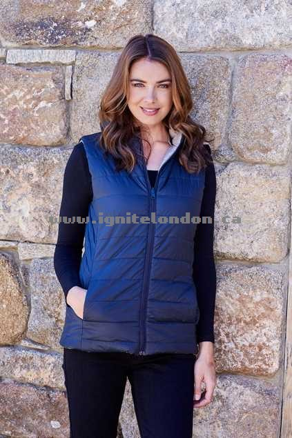 Womens Betty Basics Zayn Reversible Vest With Removable Hood BlackOlive - Plain Colour, Quilted, Padded Special Sales