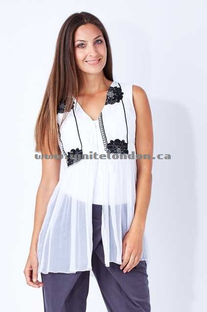 Womens Boo Radley Boho Chiffon Vest White - Embroidered, Textured, Crinkle, Monochrome Cheap Price