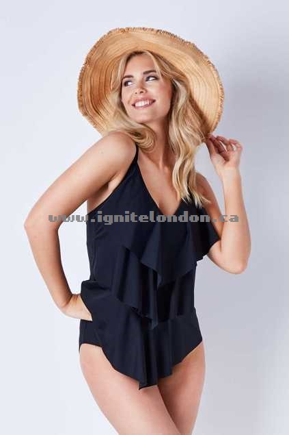 Womens Capriosca 3 Tier One Piece Black - Plain Colour, Stretch Sale Online