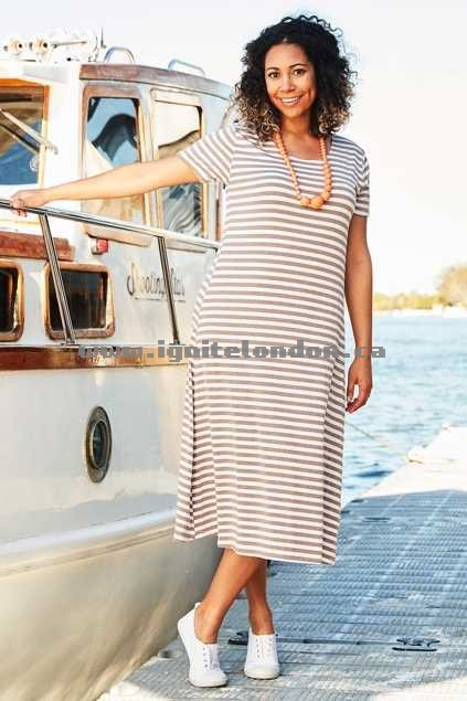 Womens Clarity By Threadz Stripe Dress Natural - Stretch, Stripes, Prints Top Quality