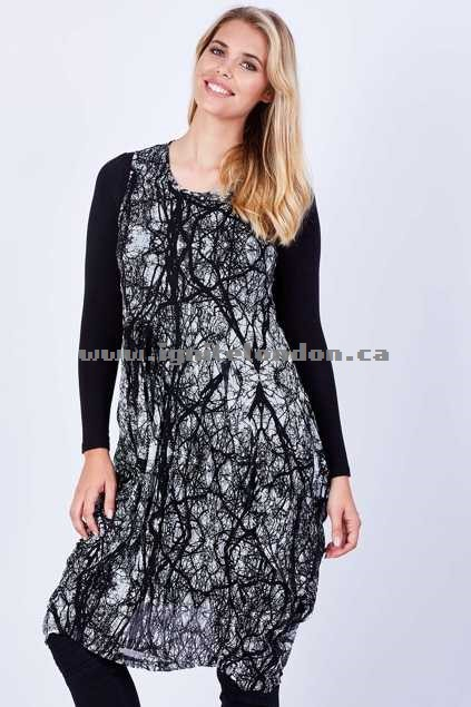 Womens Cordelia St Branches Bounce Dress BlackWhite - Stretch, Monochrome, Textured, Prints On Sale