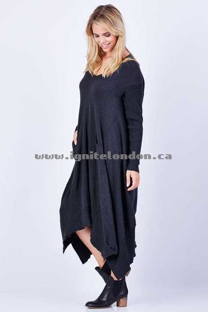 Womens Cordelia St Relaxed Dress Charcoal - Stretch, Knit, Plain Colour Online Cheap