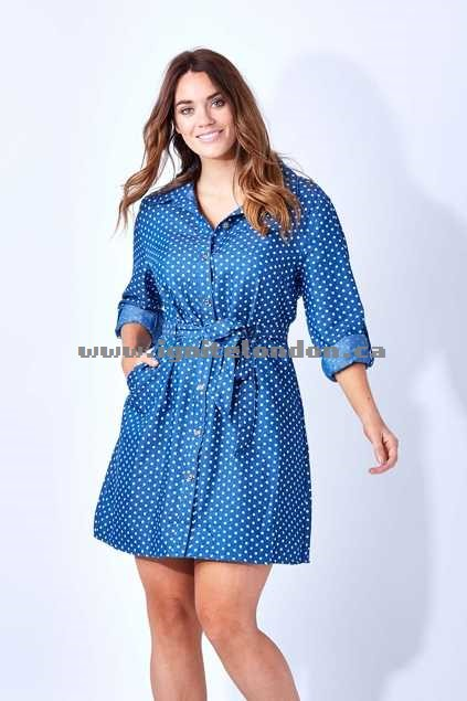 Womens Cordelia St Spot Shirt Dress Denim - Prints, Spots Wholesale Canada