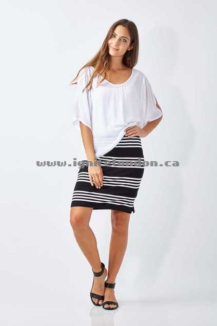 Womens Cordelia St Stripe Jersey Skirt Black - Prints, Stripes, Monochrome, Stretch Buy