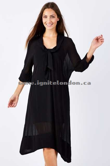 Womens Curate My Tie Dress Black - Plain Colour, Sheer New Arrival