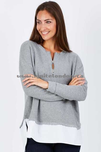 Womens Eb & Ive Ancelle Zip Knit Cement - Stretch, Knit Shops Canada