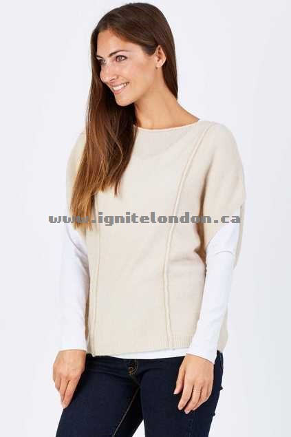 Womens Eb & Ive Paoli Knit Top Almond - Stretch, Knit, Plain Colour Cheap