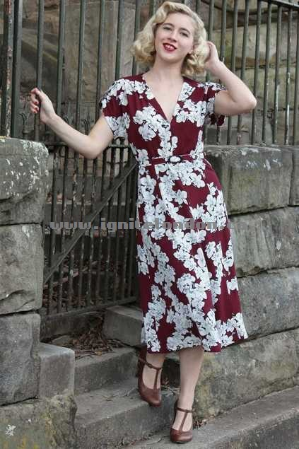 Womens Elise Amanda Dress Burgundy - Prints, Floral Canada