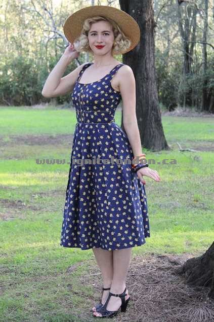 Womens Elise Nola Dress NavyMustar - Prints, Floral 100% Quality Guarantee