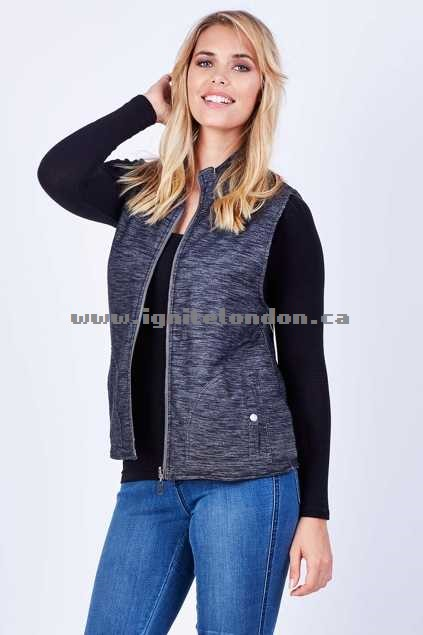 Womens Elm Review Puffa Vest CharcoalSt - Padded, Prints, Stripes Special Sales