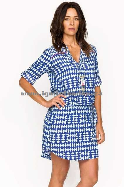 Womens Firefly Alexa Dress PicnicBlue - Prints Popular