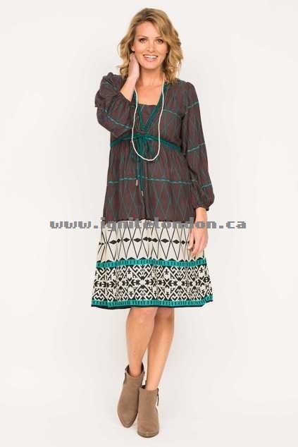 Womens Firefly Belle Dress DiamMocha - Prints New Arrivals