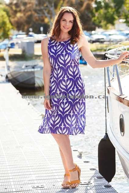 Womens Firefly Mila Dress LotusBlue - Prints Sale Canada