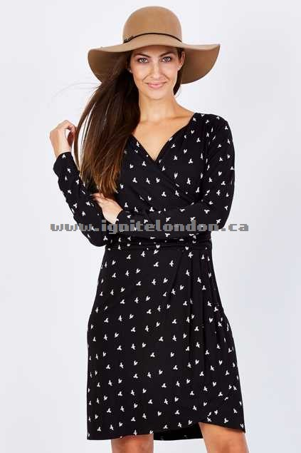Womens Hatley Swallow Print Wrap Dress Swallow - Prints, Monochrome, Stretch Top Quality