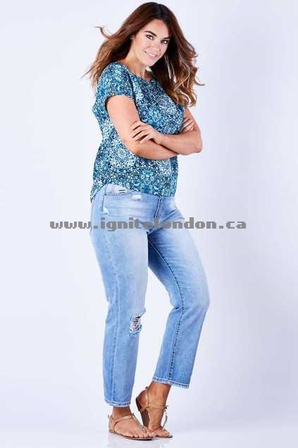Womens JAG Phoenix - High Rise Straight Crop Indigo - Plain Colour, Distressed Shops Canada