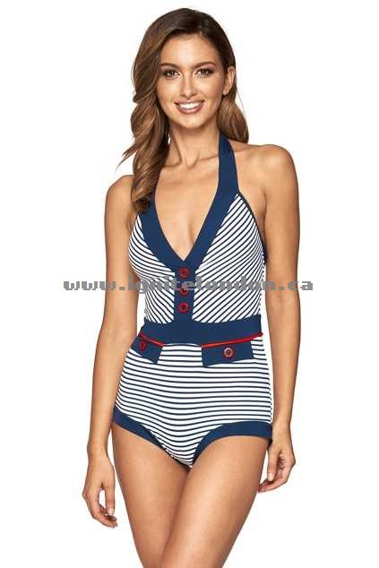 Womens JETS Banded Boyleg One Piece InkFlame - Stretch, Stripes, Prints, Padded Last 2018