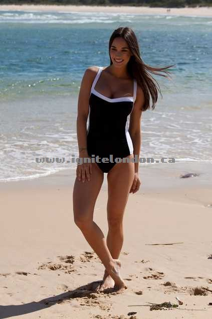 Womens JETS Classique Banded DD One Piece BlackWhite - Monochrome, Stretch Wholesale Trade
