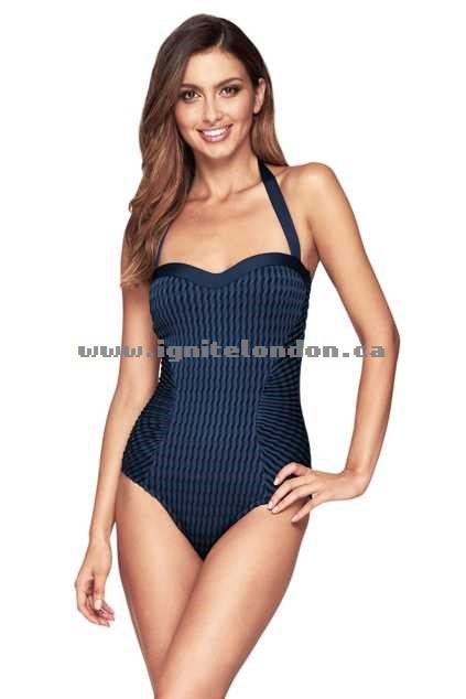 Womens JETS Gathered Infinity One Piece Navy - Stretch, Padded, Plain Colour, Textured Cheap