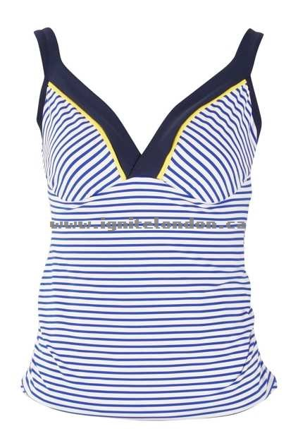 Womens JETS Panama DD/E V-Neck Singlet OceanSun - Stripes, Prints, Stretch Canada Online Shop