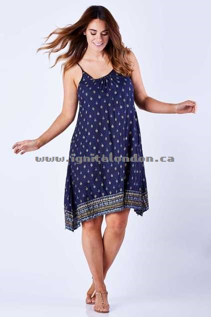 Womens Kalypso Free Spirit Sundress Indigo - Prints, Embellished Canada Sale