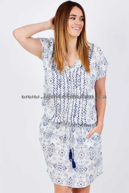 Womens Kalypso Groovin Tie Dress CreamBlue - Prints, Embellished Online Shop Canada