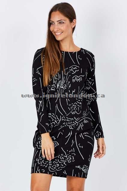 Womens Layer'd Print Gyda Ponti Dress Sketch - Prints, Monochrome, Embellished, Stretch Online