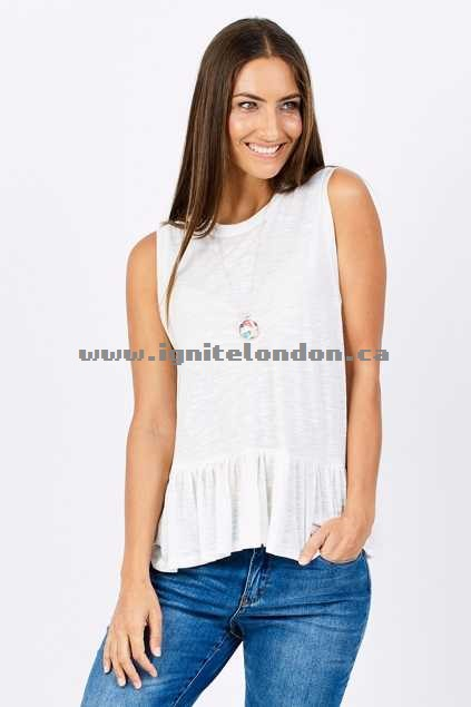 Womens Living Doll Frill Tank White - Stretch, Pastel, Sheer Outlet